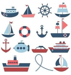 Sea transport set vector