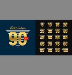 set anniversary logotype golden anniversary vector image
