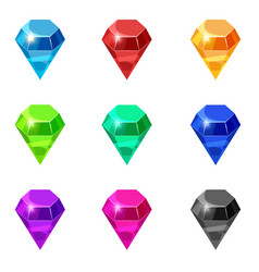 Set diamonds isolated different colors on white vector