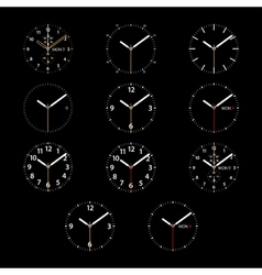 Set of 11 modern smart watches white round dials vector