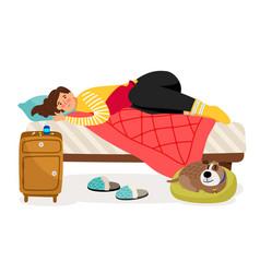 Sick woman in bed menstrual pain woman health vector