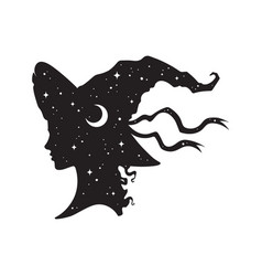 silhouette of beautiful witch girl in pointy hat vector image