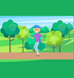 skater outdoors young skater in cute hat riding vector image