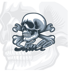 Skull and bones monochrome detailed drawing vector