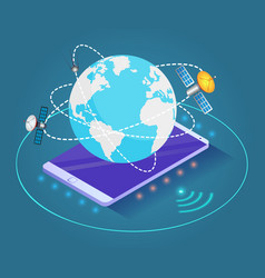 smartphone with globe and satellites 3d vector image