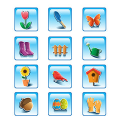 spring gardening icons vector image