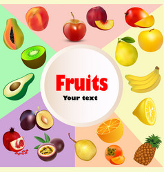 summer background fruit icon set vector image