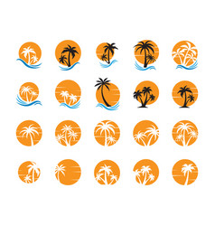 summer palm tree collection set graphic design vector image