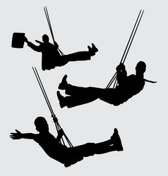 Swing people silhouette vector