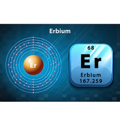 Symbol and electron diagram for Erbium vector
