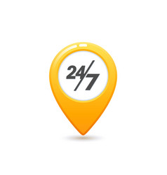 taxi service 24 7 icon flat style yellow taxi vector image