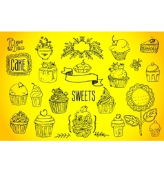 tea and sweets - doodles collection vector image