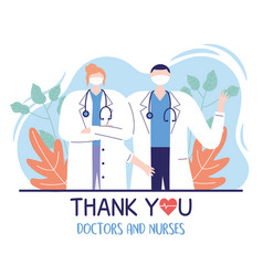 Thank you doctors and nurses male and female vector