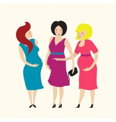 Three Pregnant Young Women Friends vector image
