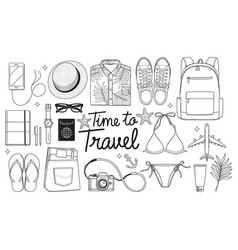 time to travel concept travel objects flat lay vector image