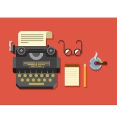 Typewriter with sheet of paper glasses notepad vector