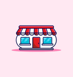 unique red pink store building vector image