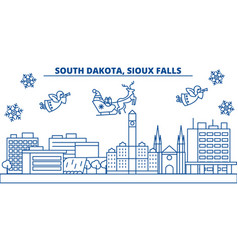 Usa south dakota sioux falls winter city vector