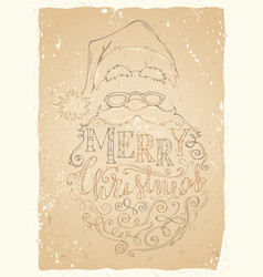 vintage merry christmas lettering on old vector image