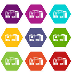 warehouse for loading icons set 9 vector image