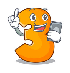 With phone character paper cut number three letter vector