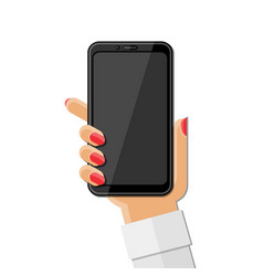 Womans hand holding smartphone vector