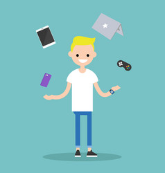 Young blond boy juggling electronic devices vector