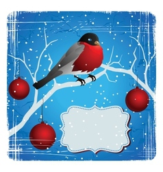 Bird on a tree in winter Christmas and New Years vector image vector image