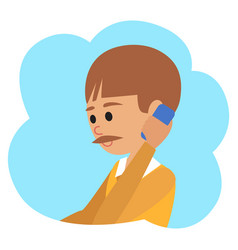 in flat style icon boy with vector image