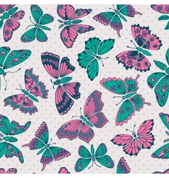 Seamless pattern with decorative butterflies vector image vector image