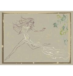 beautiful running woman vector image vector image