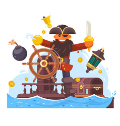Cartoon pirate with sword and hook on ship vector