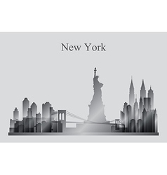 New York city skyline silhouette in grayscale vector image vector image