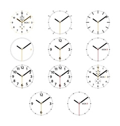 Set of 11 modern smart watches black and golden vector image