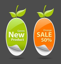 Sticker green and orange price tag vector image vector image