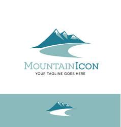 teal mountains logo vector image vector image