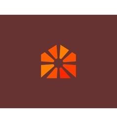 Abstract sun house logo design template universal vector