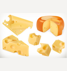 cheese 3d icon set vector image