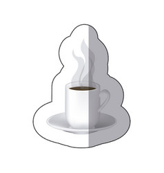 Color coffee cuppa with steam with plate vector