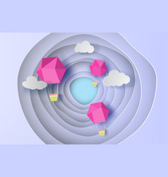 paper art of pink balloon on cruve blue sky vector image