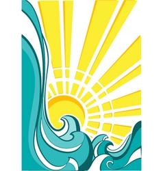 sea waves of nature poster with yellow sun vector image vector image