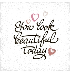 You look beautiful today lettering handmade vector image vector image