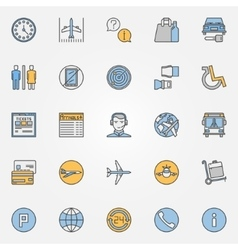 Colorful air travel or airport icons vector image