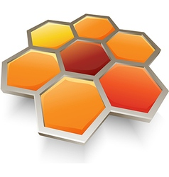Honey bee honeycombs symbol icon vector image vector image