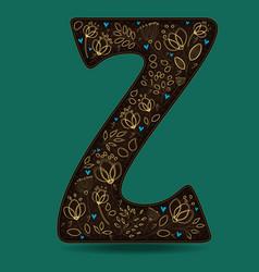 letter z with golden floral decor vector image