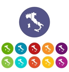 Map of Italy set icons vector image