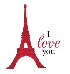 Ruby Red Eifel Tower Paris On St Valentines vector image vector image