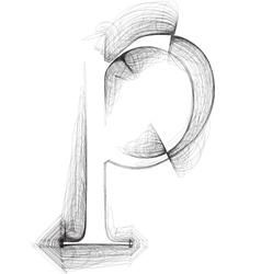 Sketch font Letter p vector image vector image