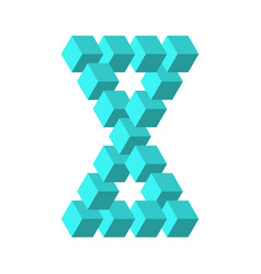 Two connected impossible triangles in turquoise vector