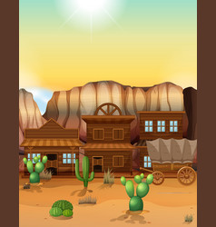 western town with buildings and wagon vector image vector image